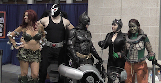Batman on Batpod with Bane and Poison Ivay
