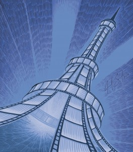 Eiffel Tower made of film strips Illustration by Jacob Saariaho