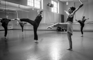 Don Halquist, Melody Gamba, and Amy Burns in rehearsal at Providence College for Isimería, choreographed by Bill Evans photos by Nikki Carrara