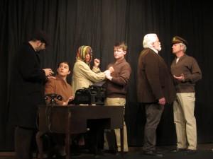 Taking Sides at Granite Theatre Westerly. L-R: Ryan Sekac, Courtney Littlefield, Genevra Stewart, Jim Auger, Greg Blevin, Marcus Fisk
