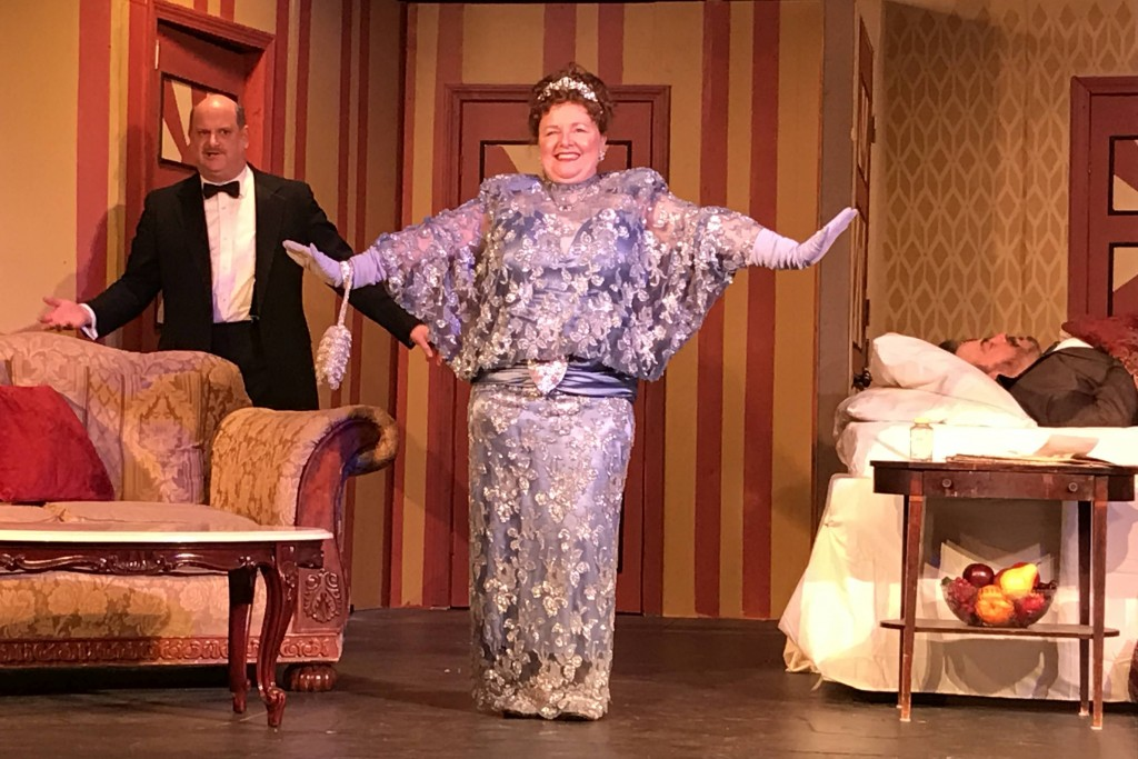 "Lend Me a Tenor at RI Stage Ensemble. L-R: Steve Small, Mary Case (looking ""like the Chrysler Building""), and Robert Grady."