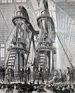 The Corliss Centennial Steam Engine being ceremonially started to open the 1876 Philadelphia Centennial Exposition by US President Ulysses S Grant and Emperor Pedro II of Brazil. (Photo: Wikimedia Commons)
