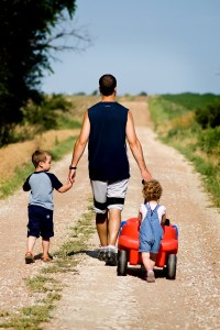 Family Father Walk Children Daughter Son Dad
