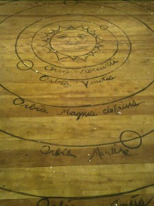 """Copernican model stage floorboard for Galileo at Burbage Theatre, designed by Andrew """"Ike"""" Iacovelli (Photo: Michael Bilow)"""