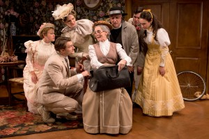 Front,L to R:  Jeff Church (John Worthing, J.P.), Jeanine Kane (Miss Prism); Back, L to R: Nora Eschenheimer (Gwendolen Fairfax), Deb Martin (Lady Bracknell), Tom Gleadow (Rev. Canon Chasuble, D.D.), Marc Dante Mancini (Algernon Moncrieff), Alison Russo (Cecily Cardew) Photo by Peter Goldberg