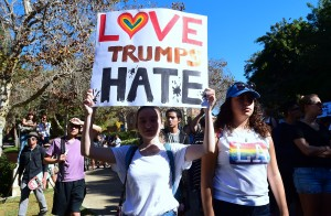 "University of California Los Angeles students march through campus on November 10, 2016 in Los Angeles, California, during a ""Love Trumps Hate"" rally in reaction to President-elect Donald Trump's victory in the presidential elections. / AFP / Frederic J. BROWN (Photo credit: FREDERIC J. BROWN/AFP/Getty Images)"