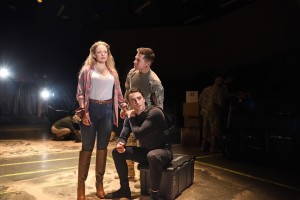 Left to right: Rebecca Gibel as Desdemona, Charlie Thurston as Cassio, and Stephen Thorne as Iago in Othello directed by Whitney White. Costume design by Andrew Jean, set design Daniel Soule, lighting design by Amith Chandrashaker. Photo by Mark Turek.