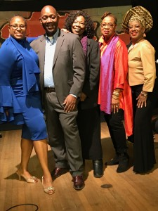 (Photo (left to right): April Brown, Ricardo Pitts-Wiley, Bernadet Pitts-Wiley, Karen Allen Baxter, Angela Nash Wade. Photo Credit: Kathy Moyer)