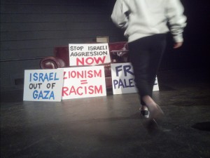 Hannah's protest signs, props for Heresy at Wilbury Group. (Photo: Michael Bilow)