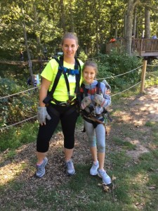 Author and her daughter, harnessed and ready
