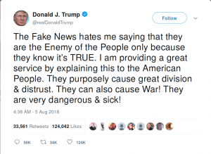 "Trump ""Enemy of the People"" tweet"