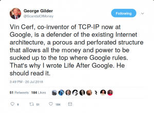 George Gilder responds on Twitter to criticism of the blockchain by Vint Cert.