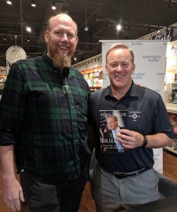 Motif Publisher Mike Ryan and former US presidential press secretary Sean Spicer (L-R:) at book signing for The Briefing, Barrington Books, Cranston, RI, on July 28, 2018.
