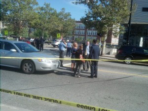 Crime scene on Cranston St shortly after the Sep 5, 2018, fatal shooting of Central high School student William Parsons, a 15 year-old innocent bystander hit by a stray bullet, outside the Providence Career and Technical Academy. A 16 year-old non-student, reputed to be a member of the Hanover Boyz street gang, was subsequently arrested and charged for the shooting. (Photo: Michael Bilow)