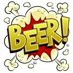 Beer word pop art retro vector illustration. Isolated image on white background. Comic book style imitation.