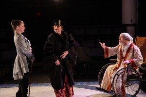 The Hypochondriac at Burbage Theatre: (L-R) Valerie Westgate as Béralde, Clare Blackmer as Toinette, F. William Oakes as Argan. (Photo: Maggie Hall)