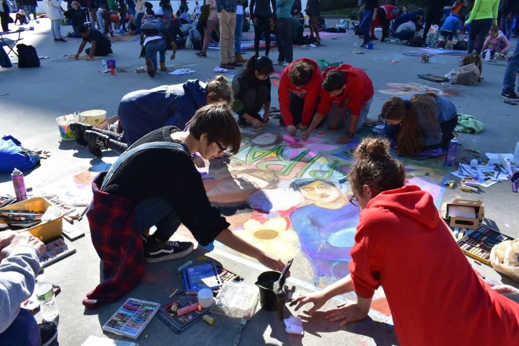"Providence Street Art Festival (Oct 20, 2018): ""Inspiration Starts with Art"" by Val Bruzzi, teacher at Cranston West (Photo: Cristina Berrios)"