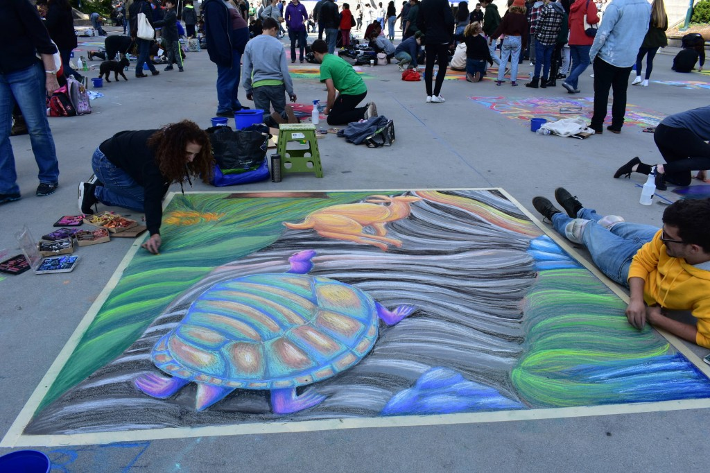 "Providence Street Art Festival (Oct 20, 2018): ""Tortoise and the Hare"" by Eric (Photo: Cristina Berrios)"