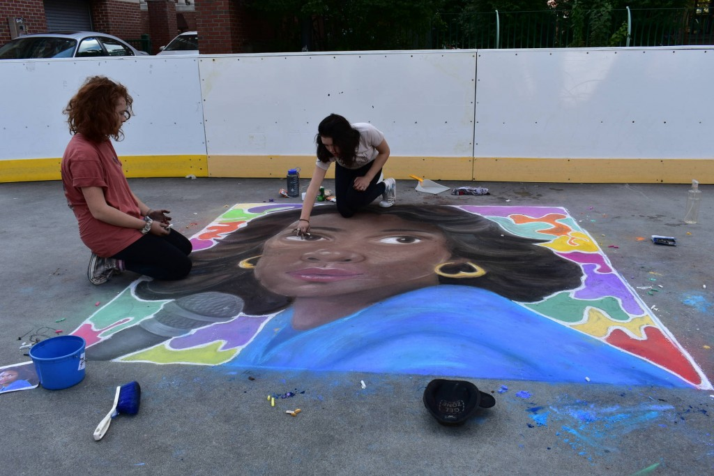 """Providence Street Art Festival (Oct 20, 2018): """"Anita Hill"""" by Paloma and Aiofe, freshmen at Classical (Photo: Cristina Berrios)"""
