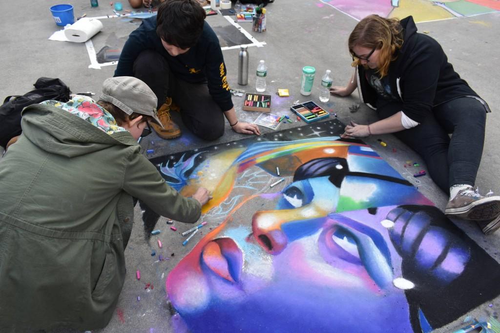 """Providence Street Art Festival (Oct 20, 2018): """"Woman in Fish Bubble"""" by Crickett, Sofia and Shay (Photo: Cristina Berrios)"""