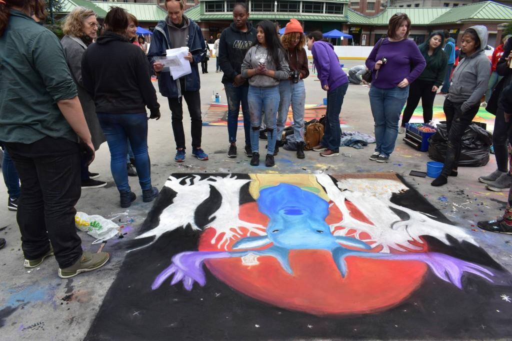 "Providence Street Art Festival (Oct 20, 2018): ""Power"" by Adryanna Boucher at Beacon Charter (Photo: Cristina Berrios)"