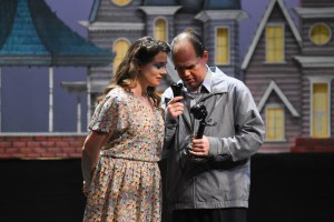 "Meagan McNulty-Morales as ""Mary Hatch Bailey"" and Duane Langley as ""George Bailey"" in It's a Wonderful Life: The Musical, Community Players, Pawtucket"