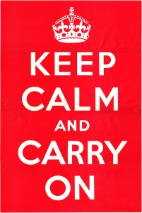 """Digital scan of original 1939 UK government """"KEEP CALM AND CARRY ON"""" poster (Source: Wikimedia Commons, public domain)"""