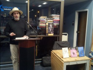 Jay Walker at the Feb 16, 2019, re-release of his three books of collected poems, Stillwater Books, Pawtucket, RI. (Photo: Michael Bilow)