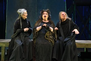 Left to Right: Jeanine Kane, Janice Duclos, and Stephen Berenson as The Witches. Photo by Mark Turek.