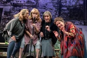 "L-R: Marya Lowry as ""Vi,"" Karen MacDonald as ""Sally,"" Carol Drewes as ""Lena,"" Debra Wise as ""Mrs. Jarrett"" in Escaped Alone at Gamm Theatre. (Photo: Karl Dominey)"