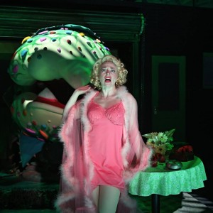 Rebecca Gibel as Audrey with Ted Chylack as the plant puppeteer. Photos credit: Mark Turek.